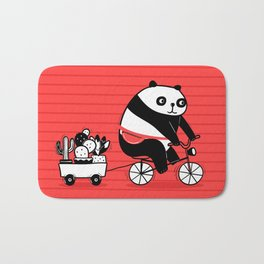 Cacti delivery. Panda on bicycle. Bath Mat