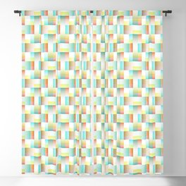 TEAL, YELLOW AND RED BLOCK AND WEAVE DESIGN Blackout Curtain