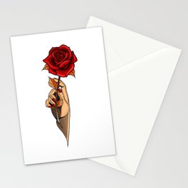 Neo-Traditional Tattoo Design, Rose and Hand Stationery Cards