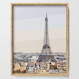 Geometric Eiffel Tower, Paris France Serving Tray