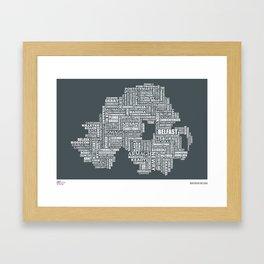 Type Map of Northern Ireland Framed Art Print