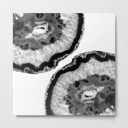 Gray Black White Agate Finesse #1 #gem #decor #art #society6 Metal Print