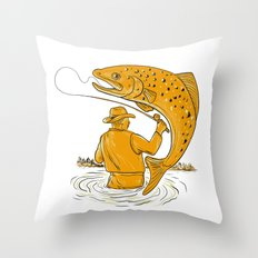 Fly Fisherman Reeling Trout Drawing Throw Pillow