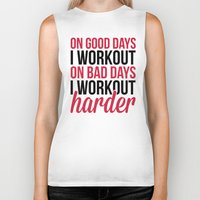 workout Biker Tanks featuring Workout Harder Gym Quote by EnvyArt