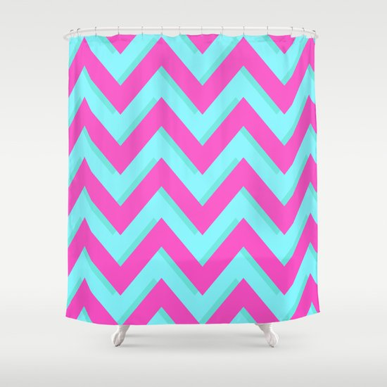 3D CHEVRON TEAL & PINK Shower Curtain