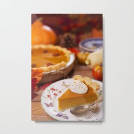 II - Homemade pumpkin pie on a rustic table with autumn decorations Metal Print