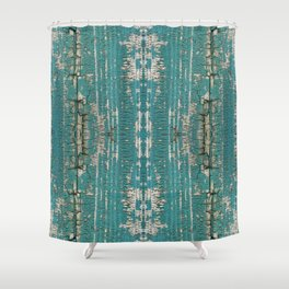 Rustic Wood Turquiose Paint Weathered Shower Curtain