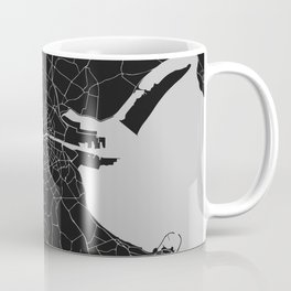 Black on Light Gray Dublin Street Map Coffee Mug