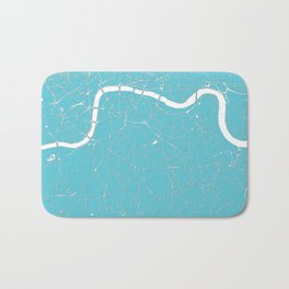London Turquoise on White Street Map Bath Mat