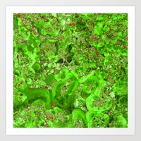 Marble Emerald Ruby Red Art Print