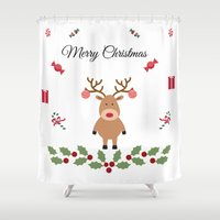 merry christmas Shower Curtains featuring Merry Christmas by haroulita