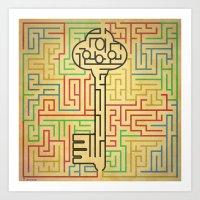 maze runner Art Prints featuring maze by gazonula