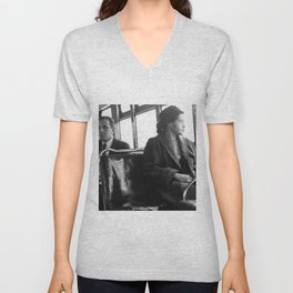 African American Portrait - If Rosa Parks Rode a Bus Today? Unisex V-Neck