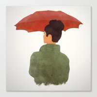 godard Canvas Prints featuring Umbrella by Eveline