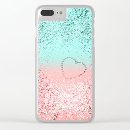 Summer Vibes Glitter Heart #1 #coral #mint #shiny #decor #art #society6 Clear iPhone Case
