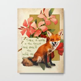 Fox & Quote Metal Print