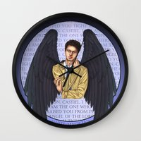 castiel Wall Clocks featuring Castiel by White Magician