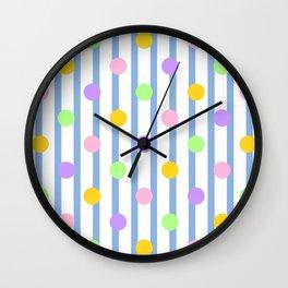 Pastel Dots and Stripes Wall Clock
