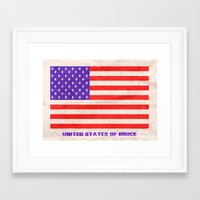 bruce springsteen Framed Art Prints featuring UNITED STATES OF BRUCE SPRINGSTEEN by Rising Trout Design