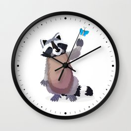 raccoon and butterfly. Vector graphic character Wall Clock