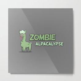 Zombie Alpacalypse Metal Print