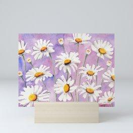 White Daisies Bloom Mini Art Print