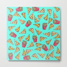 Pepperoni Pizza French Fries Foodie Watercolor Pattern Metal Print