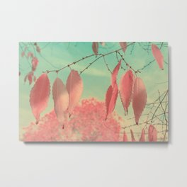 Flamingo Pink Autumn Leaves Metal Print