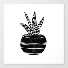 Aloe houseplant linocut black and white minimal modern illustration Canvas Print