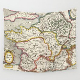 Vintage Map of France (1657) Wall Tapestry