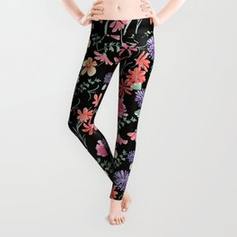 Bright flowers on a black background. Leggings