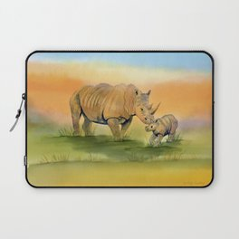 Colorful Mom and Baby Rhino Laptop Sleeve