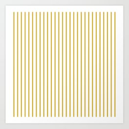Primrose Yellow Pinstripe on White Art Print