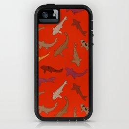 Koi carp. Brown orange yellow black outline on red background iPhone Case