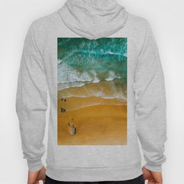 Ocean Waves Crushing On Beach, Drone Photography, Aerial Photo, Ocean Wall Art Print Decor Hoody