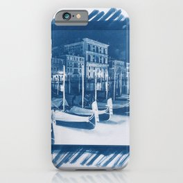 Gondolas in Venice at night cyanotype copy iPhone Case