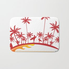 surfboard with palm tree isoalted on white Bath Mat