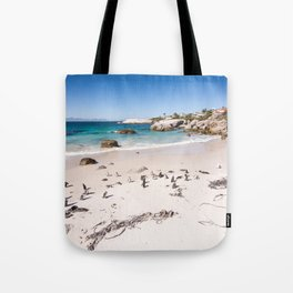 Penguins on Boulders Beach in Cape Town, South Africa Tote Bag