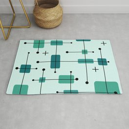 Rounded Rectangles Squares Turquoise Rug