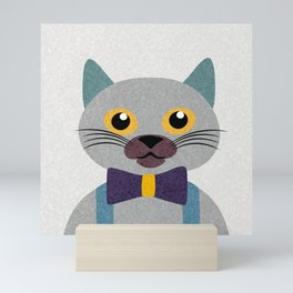 Cute Boy Cat Portrait, Kids room art, Nursery art, Toy Cat, Abstract Cat, Modern Art Mini Art Print