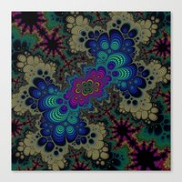 novelty Canvas Prints featuring Peacock Fractal by Moody Muse