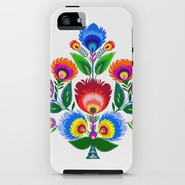 colorful folk flowers iPhone Case