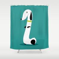 dog Shower Curtains featuring Dog by Maria Jose Da Luz