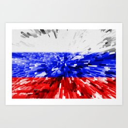 Extruded Flag of Russia Art Print