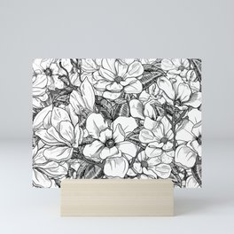 Magnolia Flower Line Art Floral Graphic Print Black and White Drawing Mini Art Print