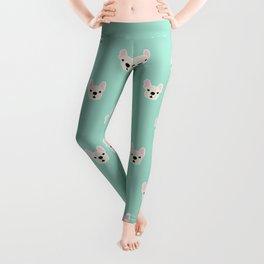 Cream Frenchie White French Bulldog Print Pattern on Mint Green Background Leggings