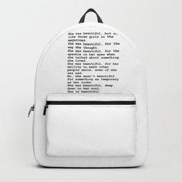 She was beautiful by F. Scott Fitzgerald #minimalism #poem Backpack