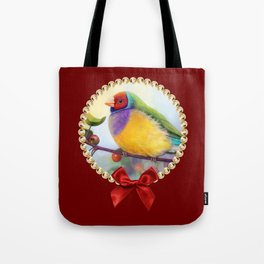 Gouldian finch realistic painting Tote Bag