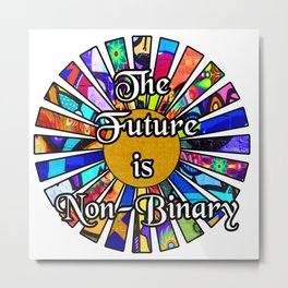 The Future is Non-Binary  Graffiti Sunrays Metal Print