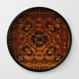 Golden Metallic Mask Wall Clock